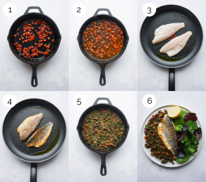Process Shots showing how to make pan-fried sea bass with chorizo and lentils.