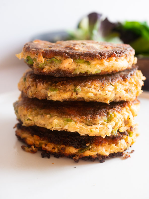 A stack of four pea and salmon fishcakes
