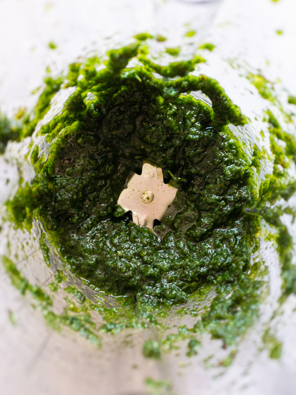 An overhead image of raisin pesto in a blender. The pesto has been blended into a smooth sauce.