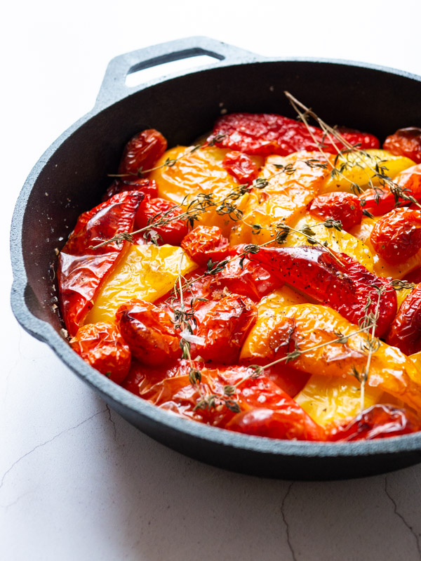 Slow roasted Peppers & Tomatoes in a cast iron pan
