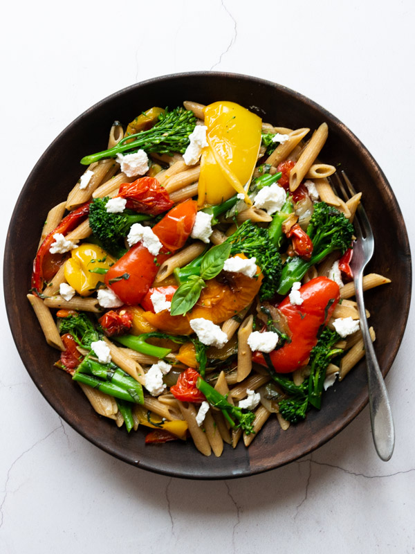 Slow Roast Pepper & Tomato Pasta in a bowl