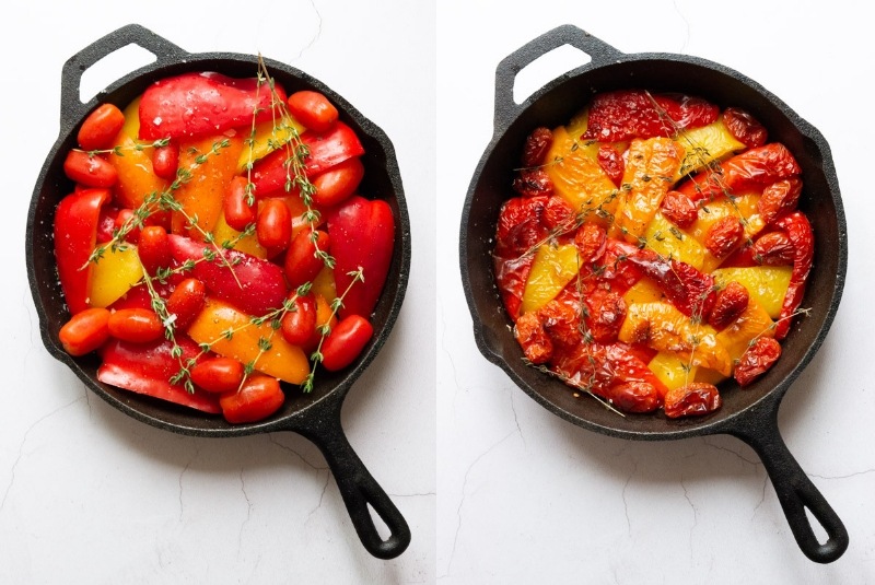 two pictures of slow Roast Pepper & Tomato Pasta, one before roasting, one afterwards, in a cast iron pan