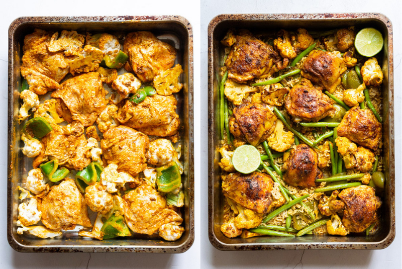 Two picture of Roast Chicken Tikka Masala in a roasting tray with vegetables including cauliflower, green pepper and green beans, once before roasting, one afterwards.