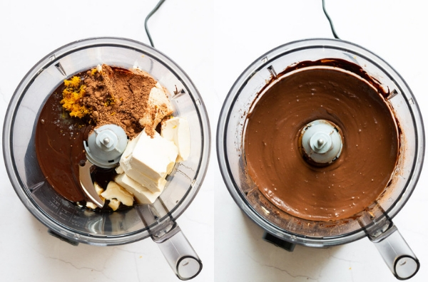 two pictures of The filling for Vegan Chocolate Orange Tart, one with the ingredients in the food processor, one with the ingredients fully mixed in the food processor