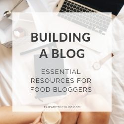 A graphic with the text 'building a blog - essential resources for food bloggers'