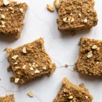 peanut butter banana breakfast bars on a white background