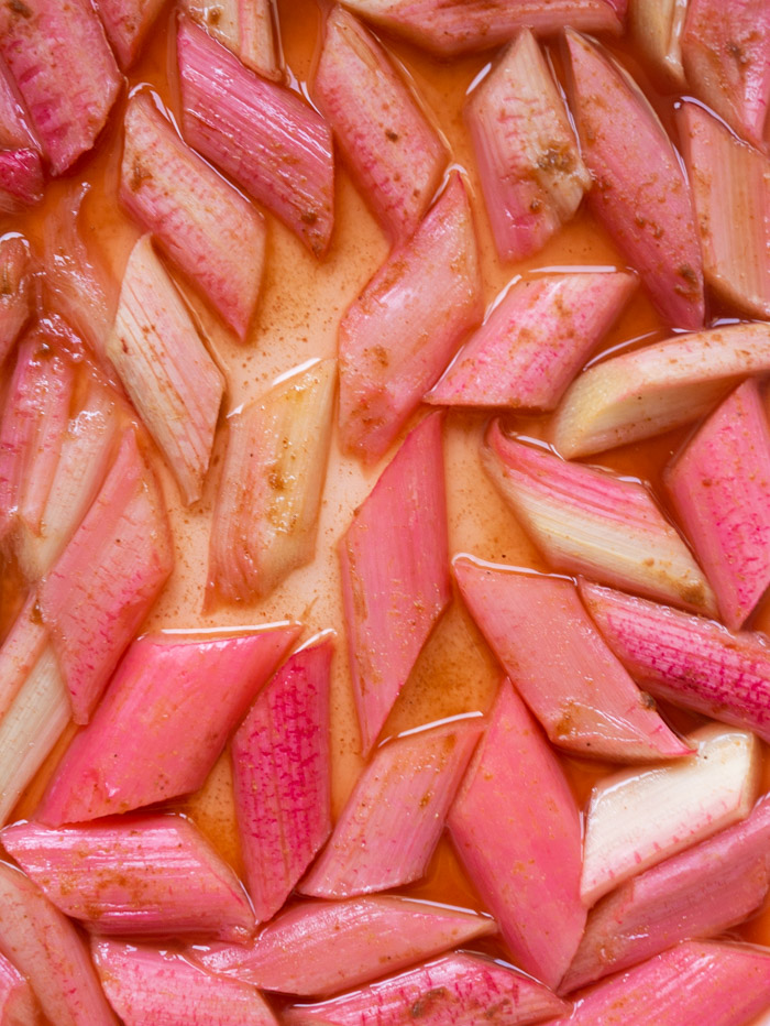 A close up shot of the finished roasted rhubarb.