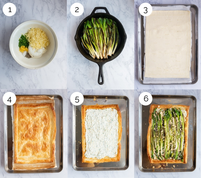 A collage of process shots showing the making of a charred spring onion tart.