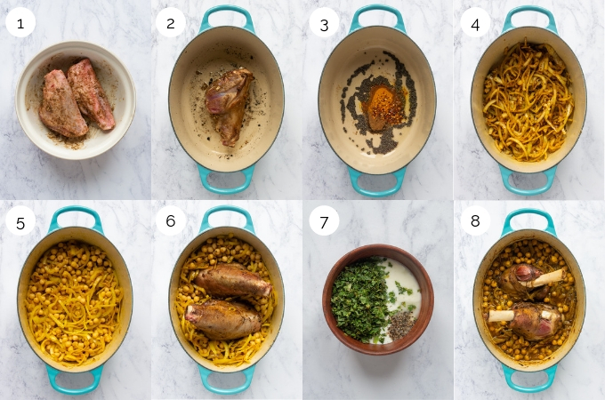 A collage of process shots demonstrating how to make slow cooked lamb shanks with spiced chickpea stew,