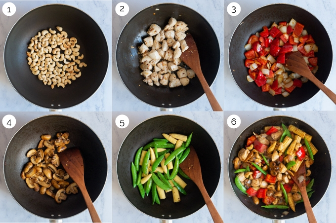 A collage of process shots demonstrating the making of Thai Cashew Chicken.