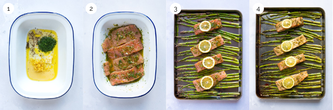 A collage of pictures demonstrating step by step how to make lemon dill salmon with asparagus.
