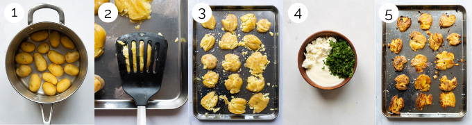 A collage of process shots demonstrating how to make smashed potatoes with mint and feta dip.