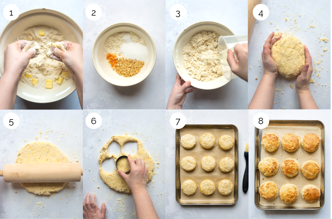 A collage of process shots demonstrating how to make orange and walnut scones.