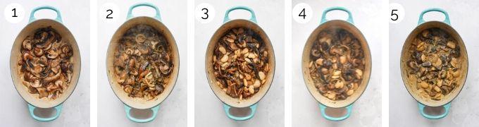 Process shots demonstrating how to make white bean and mushroom stroganoff.