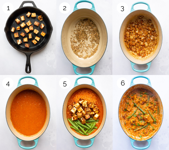 Process shots showing the making of Paneer Curry
