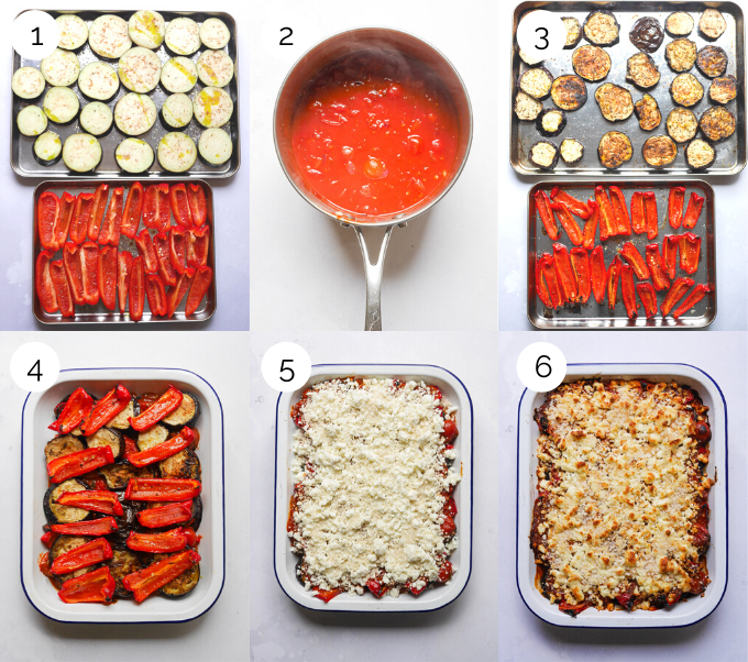 Process shots showing the making of roasted pepper and aubergine bake with harissa and feta.