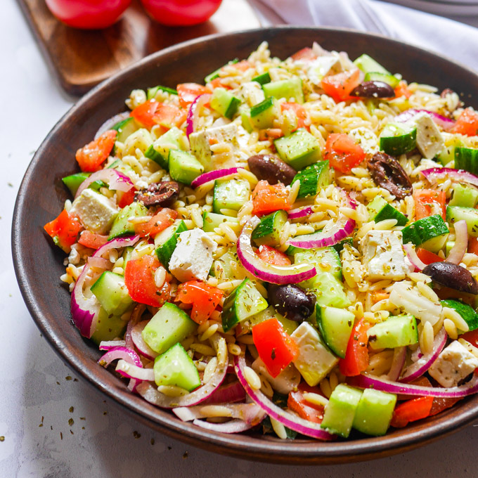 The Best Greek Orzo Pasta Salad Recipe Elizabeth Chloe