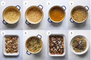 Process shots showing the making of Roasted Mushroom Pearl Barley Risotto