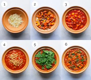 Process shots showing how to make moroccan vegetable tagine.