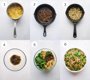 Process shots showing how to make bulgur salad with spinach